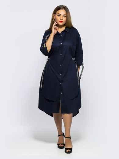 Двухслойное платье-рубашка с завязками на рукавах синее - 28455, фото 3 – интернет-магазин Dressa
