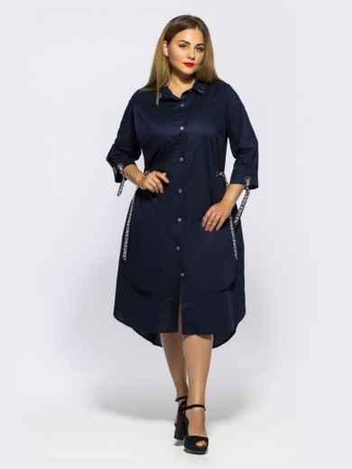 Двухслойное платье-рубашка с завязками на рукавах синее - 28455, фото 4 – интернет-магазин Dressa