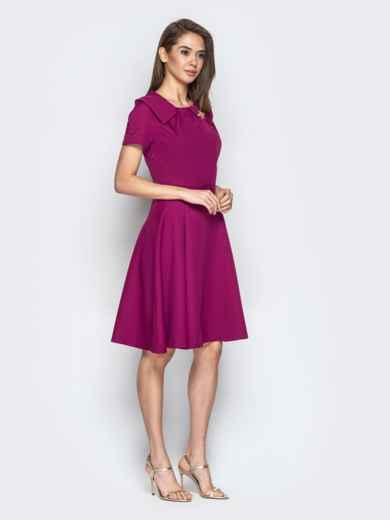 Фиолетовое платье с фигурным воротником и юбкой-клёш - 20440, фото 2 – интернет-магазин Dressa