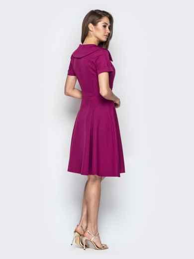 Фиолетовое платье с фигурным воротником и юбкой-клёш - 20440, фото 3 – интернет-магазин Dressa