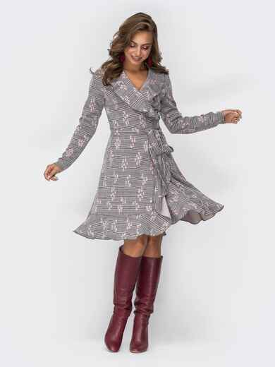 Серое платье на запах с принтом и оборкой по низу 42566, фото 1