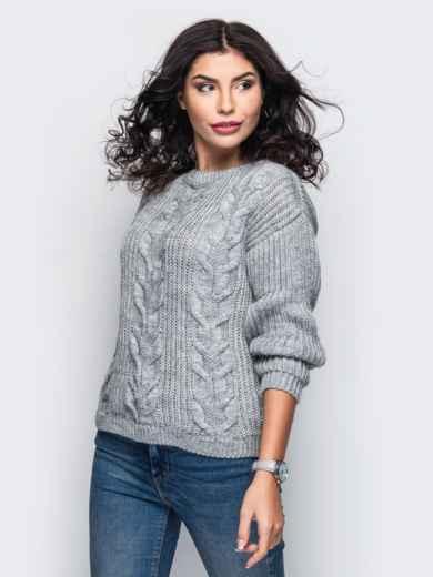 Свитер с вязаными косами на полочке серый - 13054, фото 2 – интернет-магазин Dressa