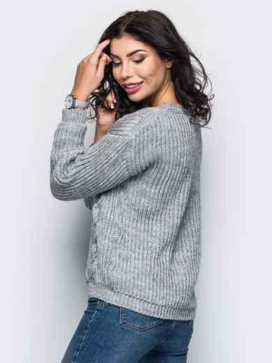 Свитер с вязаными косами на полочке серый - 13054, фото 3 – интернет-магазин Dressa