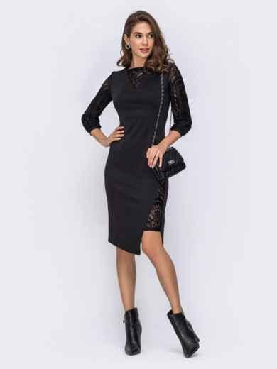 Асимметричное платье с гипюровыми вставками чёрное 42388, фото 1