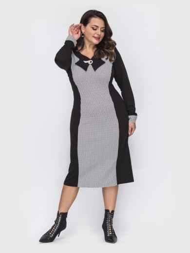 Черное платье приталенного силуэта с брошью батал 52083, фото 1