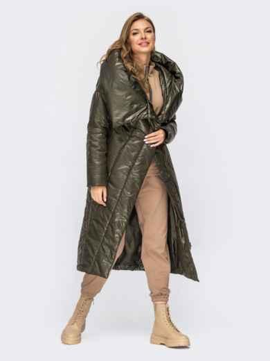 Длинная зимняя куртка цвета хаки с объемным капюшоном 54996, фото 1
