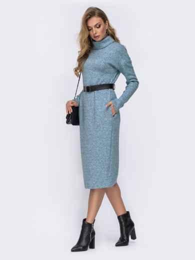 Голубое платье из ангоры со спущенными плечами 42392, фото 2