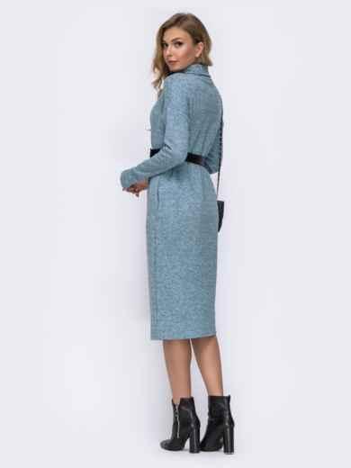 Голубое платье из ангоры со спущенными плечами 42392, фото 3