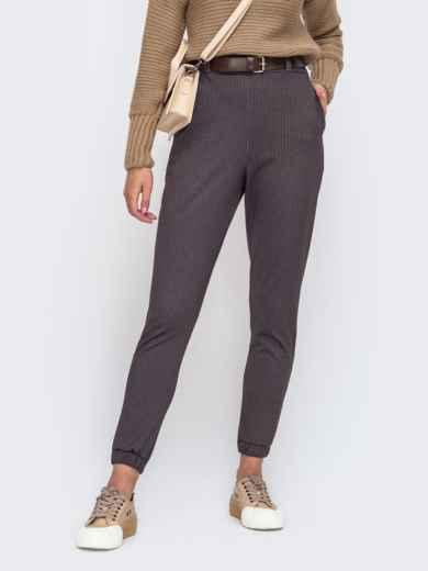 Коричневые брюки-джоггеры с резинкой по талии 50950, фото 1