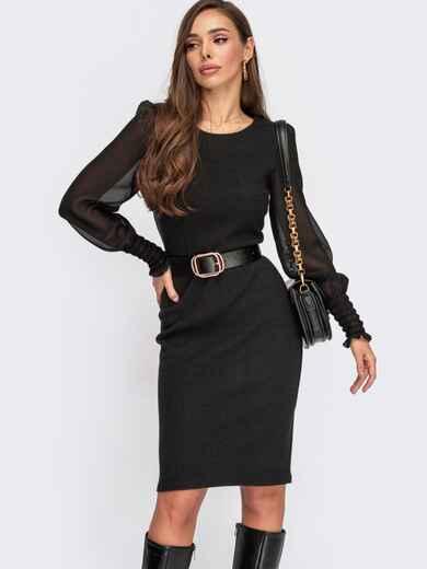 Облегающее платье с длинными рукавами из шифона черное 55526, фото 1