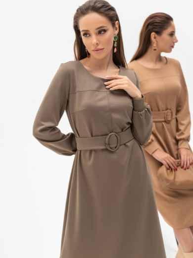 Платье из джерси цвета хаки с расклешенной юбкой 51340, фото 2