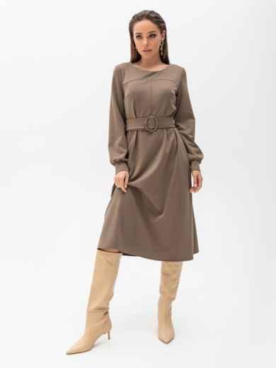 Платье из джерси цвета хаки с расклешенной юбкой 51340, фото 3