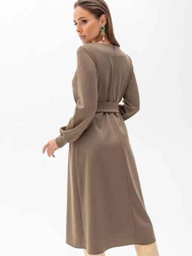 Платье из джерси цвета хаки с расклешенной юбкой 51340, фото 4