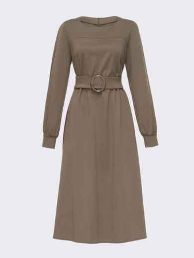 Платье из джерси цвета хаки с расклешенной юбкой 51340, фото 5
