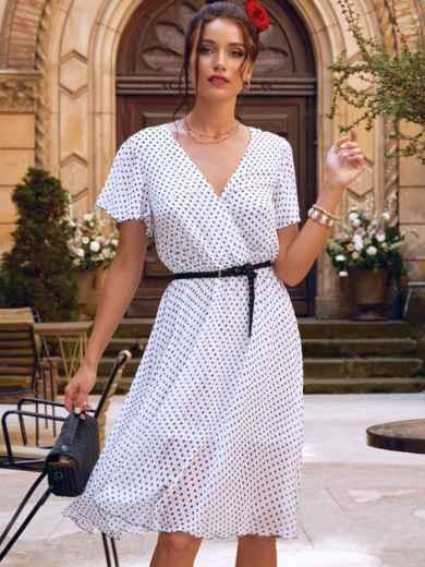 Платье-клеш белого цвета из шифона в горох 54383, фото 1