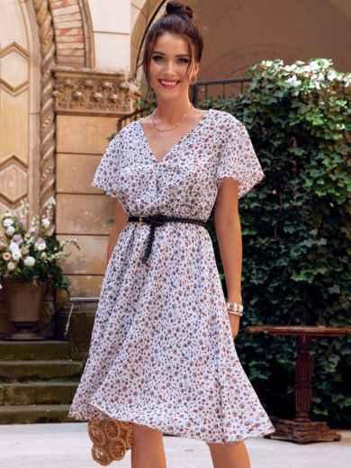 Платье-клеш из шифона молочного цвета с принтом 54382, фото 1