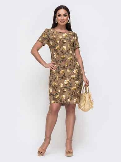Приталенное платьн батал с принтом коричневое 46370, фото 1