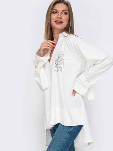 Рубашка с удлиненной спинкой молочного цвета 50947, фото 1