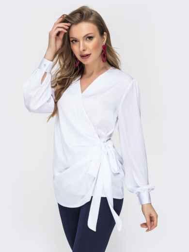 Шелковая блузка на запах белая 44868, фото 1