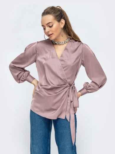 Шелковая блузка на запах бежевая 44867, фото 1