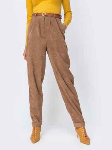 Широкие брюки из вельвета с завышенной талией бежевые 42395, фото 1