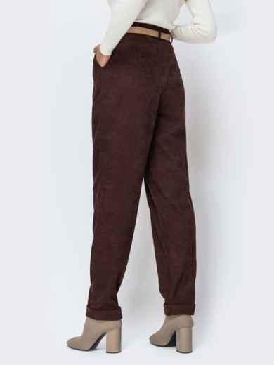 Широкие брюки из вельвета с завышенной талией коричневые - 42396, фото 2 – интернет-магазин Dressa