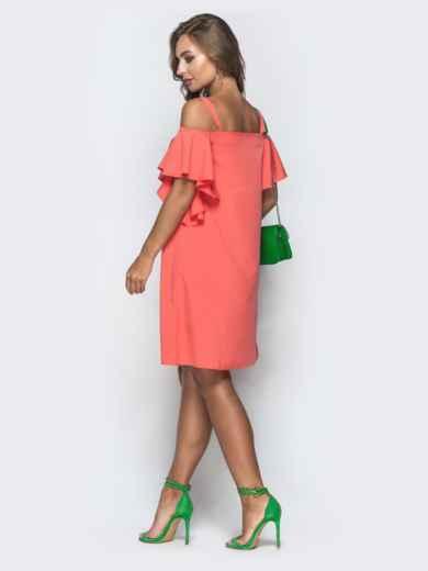 Свободное платье с открытыми плечами коралловое 38874, фото 2