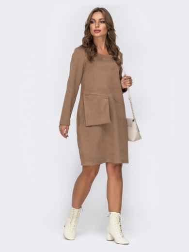 Замшевое платье с навесным карманом на полочке бежевое 42389, фото 1