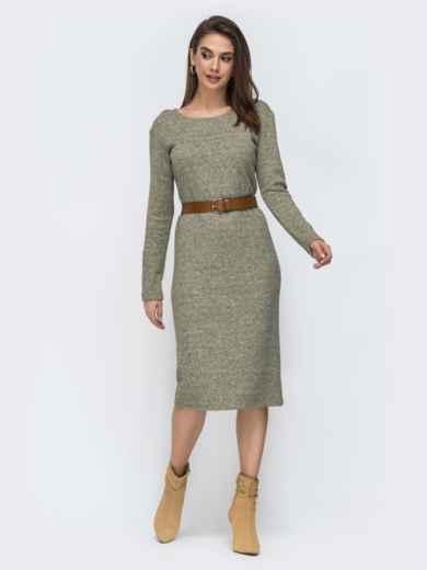 Зелёное платье-миди из ангоры 44906, фото 1