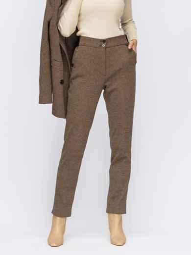 Базовые брюки бежевого цвета в мелкую полоску 55247, фото 1