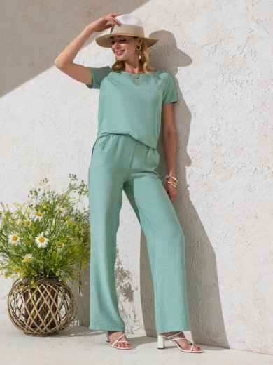 Комплект мятного цвета из прямой блузки и брюк-клеш 49331, фото 1