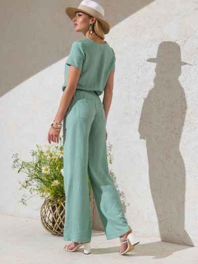 Комплект мятного цвета из прямой блузки и брюк-клеш 49331, фото 2
