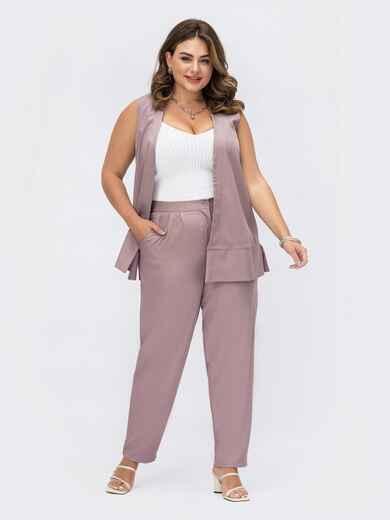 Костюм большого размера с жилетом и брюками фиолетовый 54080, фото 1