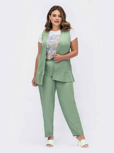 Костюм большого размера с жилетом и брюками зеленый 54081, фото 1