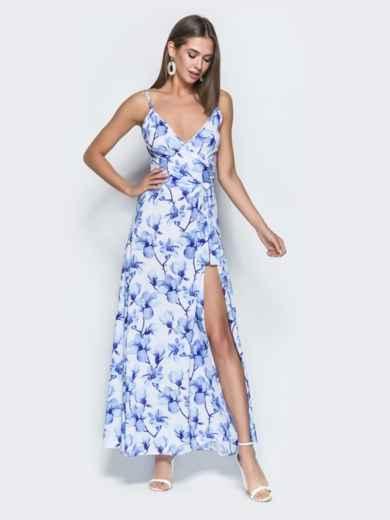 Платье-макси с флористическим принтом и запахом голубое 38711, фото 1