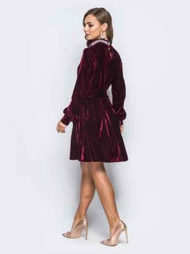 Расклешенное платье бордового цвета с гипюром на полочке - 18053, фото 2 – интернет-магазин Dressa