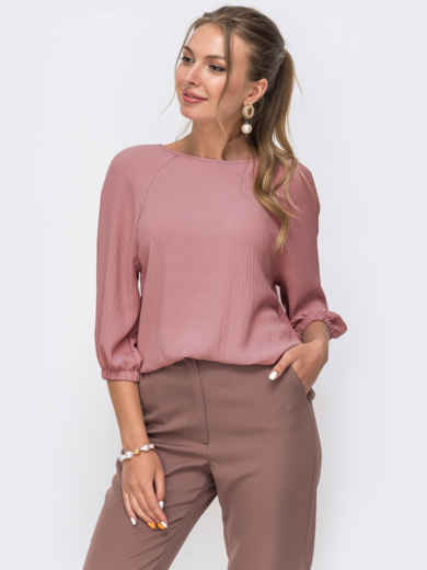 Свободная блузка розового цвета с рукавом-реглан 51058, фото 1
