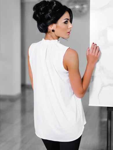 Белая блузка с присборенной горловиной  - 10243, фото 3 – интернет-магазин Dressa