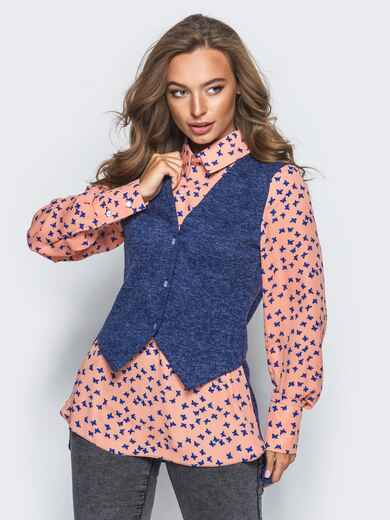 Блузка с имитацией жилета синего цвета - 16295, фото 1 – интернет-магазин Dressa