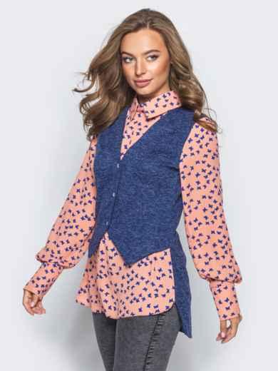 Блузка с имитацией жилета синего цвета - 16295, фото 2 – интернет-магазин Dressa