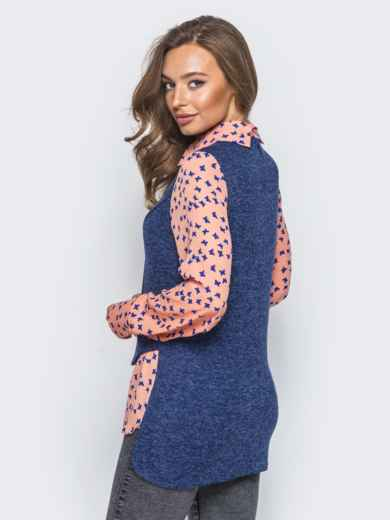 Блузка с имитацией жилета синего цвета - 16295, фото 3 – интернет-магазин Dressa