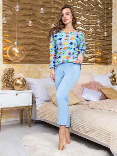 Брючная пижама из софта с принтом голубая - 20420, фото 1 – интернет-магазин Dressa