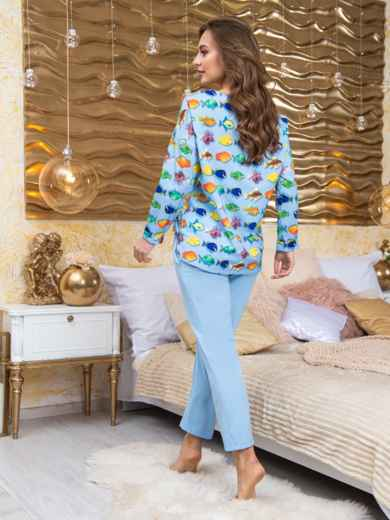 Брючная пижама из софта с принтом голубая - 20420, фото 2 – интернет-магазин Dressa