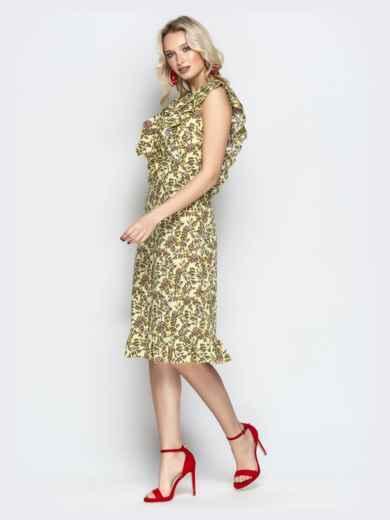 Платье с растительным принтом и воланами на кокетке хаки - 21344, фото 2 – интернет-магазин Dressa