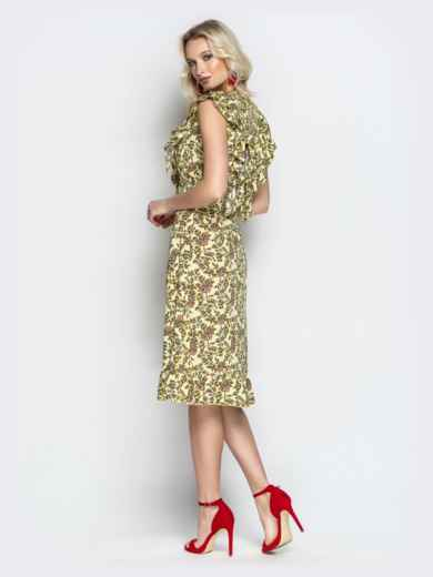 Платье с растительным принтом и воланами на кокетке хаки - 21344, фото 3 – интернет-магазин Dressa