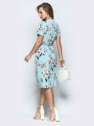 Принтованное платье с глубоким круглым вырезом голубое - 21498, фото 2 – интернет-магазин Dressa