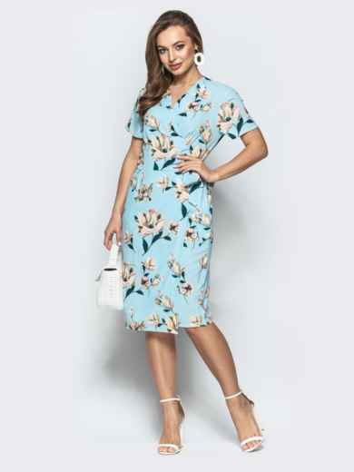 Принтованное платье с глубоким круглым вырезом голубое - 21498, фото 3 – интернет-магазин Dressa
