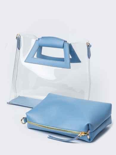 525852241307 Прозрачная сумка со съемной косметичкой голубого цвета - 22101, фото 3 –  интернет-магазин