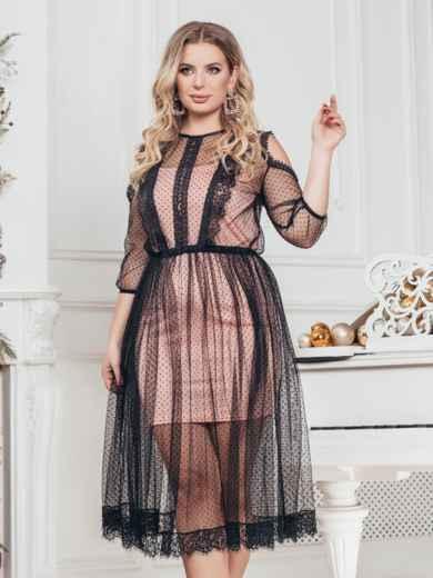 Пудровое платье батал с фатиновой сеткой в горох 43275, фото 1