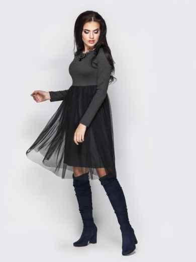 Серое платье с фатиновой юбкой - 13713, фото 2 – интернет-магазин Dressa